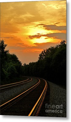 Sun Reflecting On Tracks Metal Print by Benanne Stiens