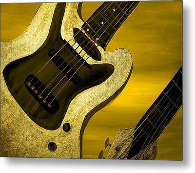 Sun Stained Yellow Electric Guitar Metal Print by Mark Moore
