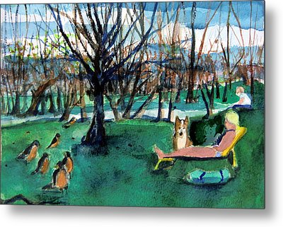 Sunbathing With Friends Metal Print by Mindy Newman