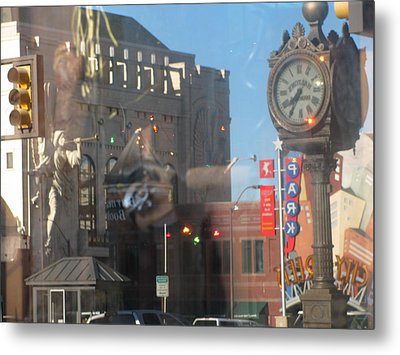 Sundance Square Reflection  Metal Print by Shawn Hughes