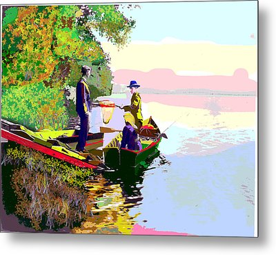 Sunday Fishing Metal Print