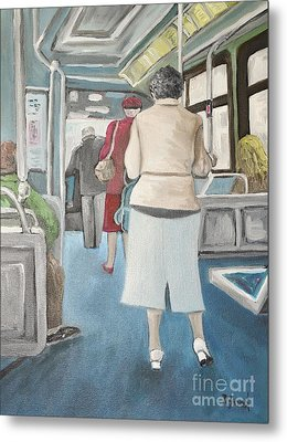 Sunday Morning Bus Stop Metal Print by Reb Frost
