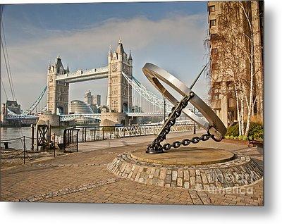 Sundial At Tower Bridge Metal Print by Donald Davis