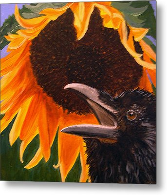 Sunflower Crow Metal Print by Kathleen A Johnson