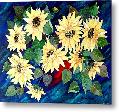 Sunflower Orgy Metal Print by Fram Cama