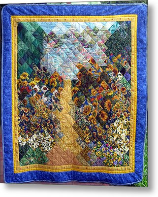 Sunflower Path Quilt Metal Print by Sarah Hornsby
