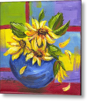 Metal Print featuring the painting Sunflowers In A Blue Bowl by Terry Taylor