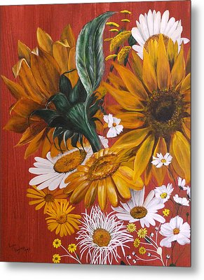Metal Print featuring the painting Sunflowers by Lynn Hughes
