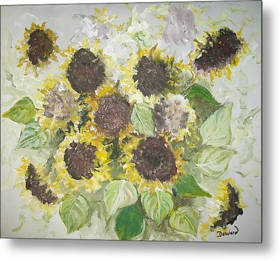 Sunflowers Profile Metal Print by Raymond Doward