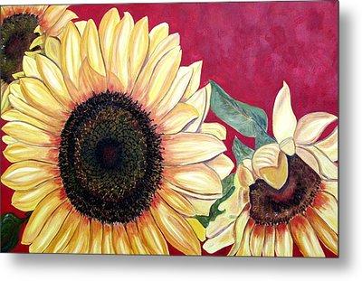 Sunflowers Three  Metal Print by Maria Soto Robbins