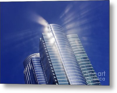 Sunlight Reflected Off An Office Building Metal Print by Jeremy Woodhouse