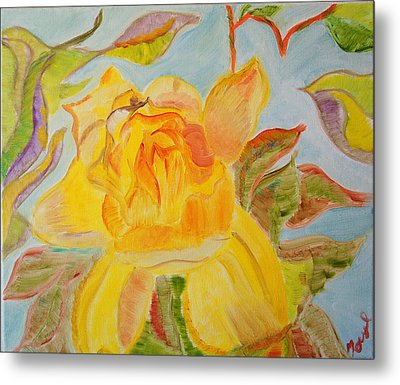Metal Print featuring the painting Sunlit Rose by Meryl Goudey