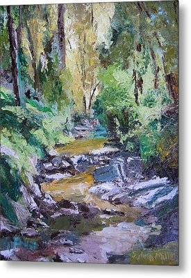 Sunlit Woodlands Metal Print