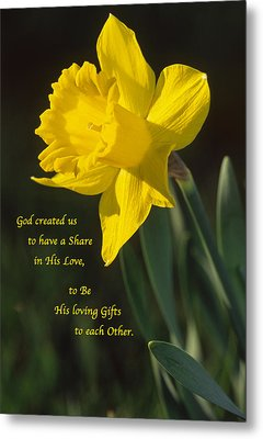 Sunny Daffodil With Quote Metal Print