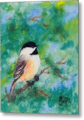 Sunny Day Chickadee - Bird 1 Metal Print by Kathleen McDermott