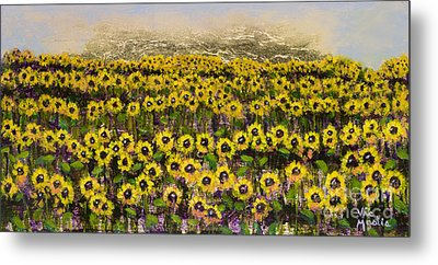Sunny Field Series With Gold Leaf By Vic Mastis Metal Print by Vic  Mastis