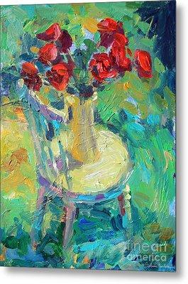 Sunny Impressionistic Rose Flowers Still Life Painting Metal Print by Svetlana Novikova