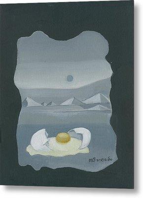 Sunny Side Up Breakfast Yellow White Egg With Broken Shell In Surrealistic Desert Landscape Fantasy Metal Print by Rachel Hershkovitz