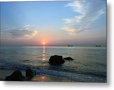 Sunrise Calm Sea Ships Metal Print by Ken  Collette