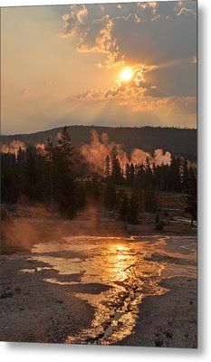 Sunrise Near Yellowstone's Punch Bowl Spring Metal Print by Bruce Gourley