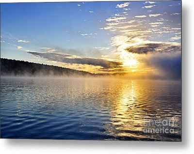 Sunrise On Foggy Lake Metal Print by Elena Elisseeva