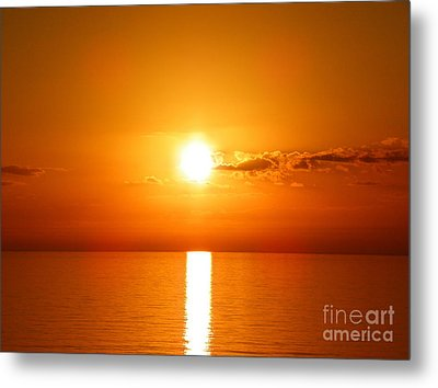 Metal Print featuring the photograph Sunrise Orange Skies by Eve Spring