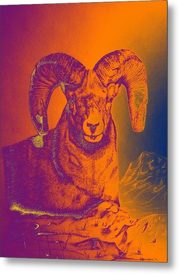 Sunrise Ram Metal Print by Mayhem Mediums