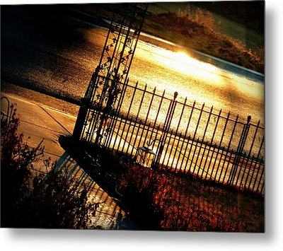 Sunrise Street Reflections Metal Print by Cindy Wright