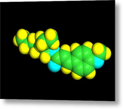 Sunscreen Chemical Molecule Metal Print by Dr Tim Evans