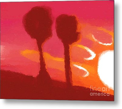 Sunset Abstract Trees Metal Print by Pixel Chimp
