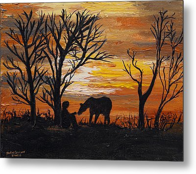 Sunset After A Great Ride Metal Print by J Cheyenne Howell