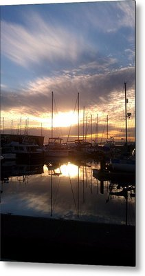 Sunset And Boats Metal Print by Jerry Cahill