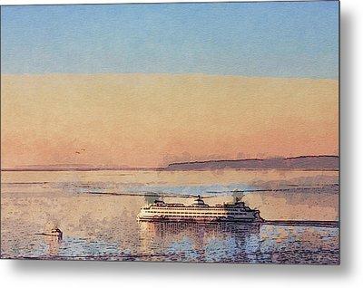 Sunset And Ferry Metal Print by Arthur Kuntz