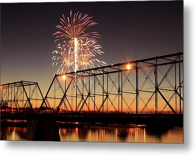 Sunset And Fireworks Metal Print by Deborah  Crew-Johnson