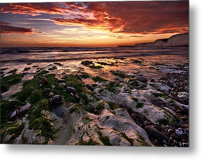 Sunset At Birling Gap Metal Print by Mark Leader