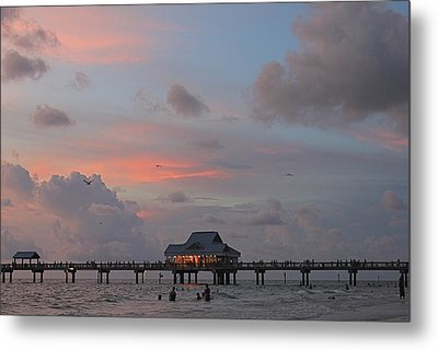 Sunset At Clearwater Beach Metal Print