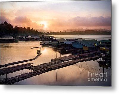 Sunset At Fisherman Villages  Metal Print by Setsiri Silapasuwanchai