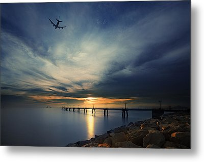 Metal Print featuring the photograph Sunset At Hong Kong Airport China by Afrison Ma