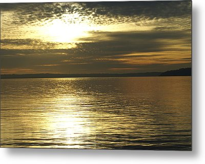 Sunset At The Harbor Metal Print by Jerry Cahill