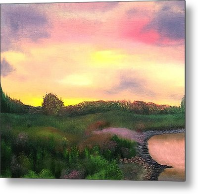 Sunset At The Lake Metal Print by Amity Traylor
