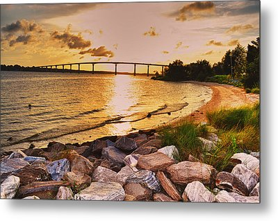 Metal Print featuring the photograph Sunset Bridge by Kelly Reber