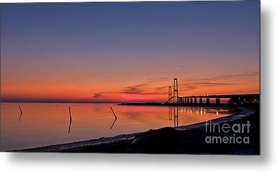 Sunset By Bridge Metal Print