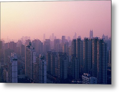 Sunset City Pink Metal Print by Min Wei Photography