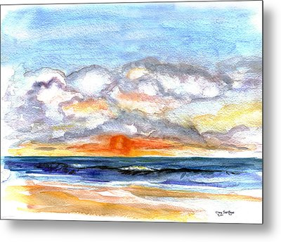 Metal Print featuring the painting Sunset Clouds by Clara Sue Beym