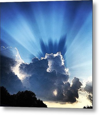 #sunset #clouds #weather #rays #light Metal Print by Amber Flowers