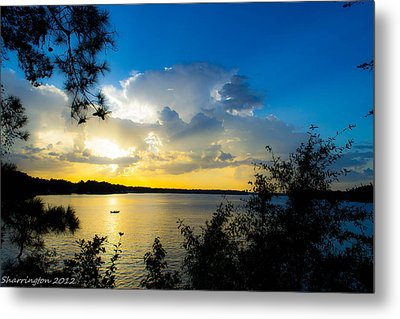 Sunset Fishing Metal Print by Shannon Harrington