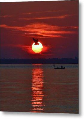 Sunset Fishing Metal Print by William Bartholomew