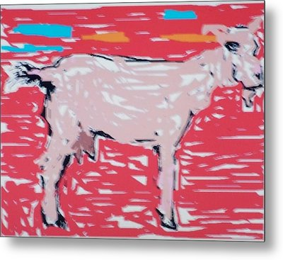Sunset Goat Metal Print by Jay Manne-Crusoe