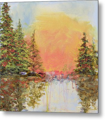 Metal Print featuring the painting Sunset Horizon by Vic  Mastis