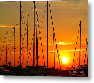 Metal Print featuring the mixed media Sunset In A Harbour Digital Photo Painting by Rogerio Mariani